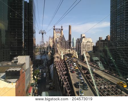 View to New York city and Roosevelt Island Tramway