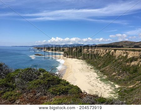 Spectacular Cliffside View of the Beach and the Pacific Ocean-Northern California Coast near Half Moon Bay-Maverick's Surf Spot in the Distance