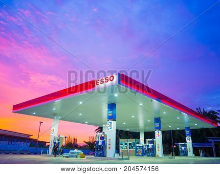 Krabi Thailand - September 1 2017: ESSO gas station. Esso gas stations and products including gasoline diesel motor oil gift cards credit cards and more