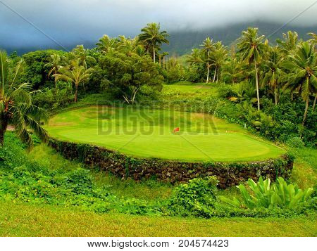 Tropical Hawaiian Golf Green Surrounded by Jungle