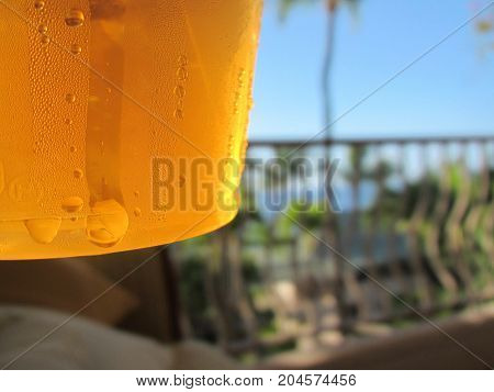 Ice Cold Beer on the Lanai in Tropical Hawaiian Paradise