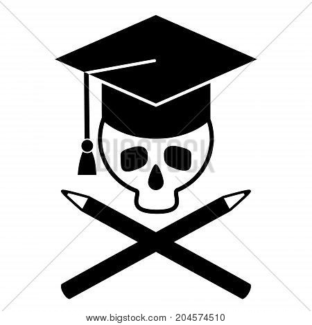 Skull in cap of graduate and crossed pencils.. Black and white picture. Vector illustration