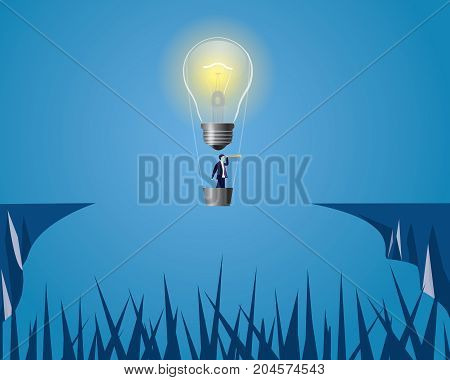 Vector illustration of lightbulb as idea symbol. Business creative idea solution concept. Businessman flying to conquering adversity problems with idea bulb lamp balloon