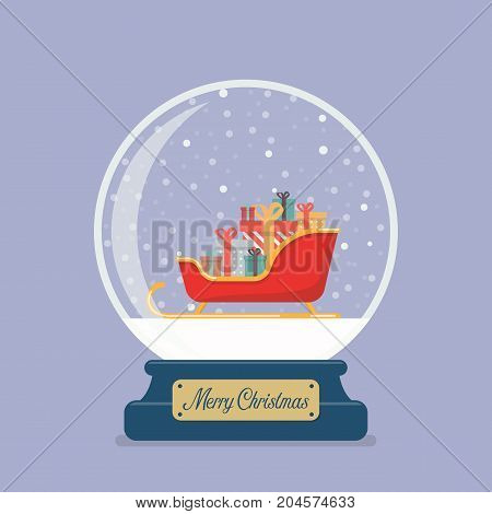 Merry christmas glass ball with Santa sleigh containing a full of presents. Vector illustration