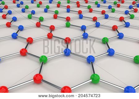 Graphene Atomic Structure On White Background