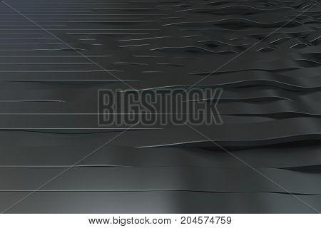 Abstract 3D Rendering Of Black Sine Waves