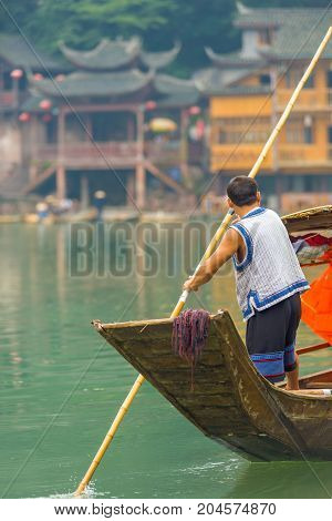 Fenghuang Traditional Boatman River Tourist Boat