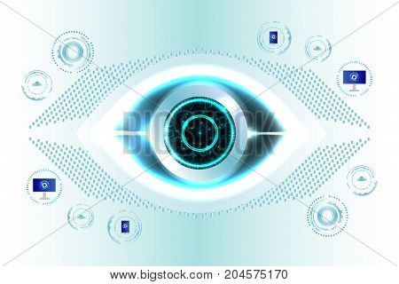 Digital technology business background, digital eye, soft colors digital technology background. Illustration vector