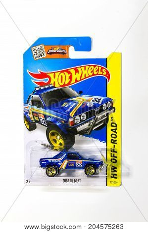 BANGKOK THAILAND - 17 SEP 2017: Pack of Hot Wheels die cast carded car model for Hot Wheels series. Hot Wheels is a scale die-cast toy cars by American toy maker Mattel in 1968.