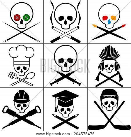 Skull images set. White background. Vector illustration