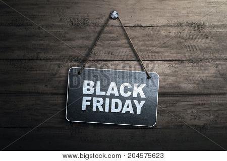 Black Friday Message Written On Hanging Blackboard