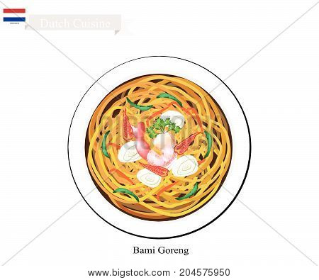 Dutch Cuisine, Bami Goreng or Traditional Fried Noodles with Prawn. One of The Most Famous Dish in Netherlands.