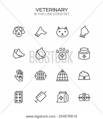 Vet icon set. Collection of veterinary line icons. High quality logos of medical on white background. Pack of symbols for design website, mobile app, printed material, etc.