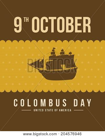 Columbus day card background design vector illustration