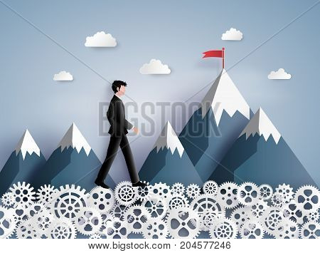 Concept of leader vision and thinking business man walking on the gear paper art and craft style