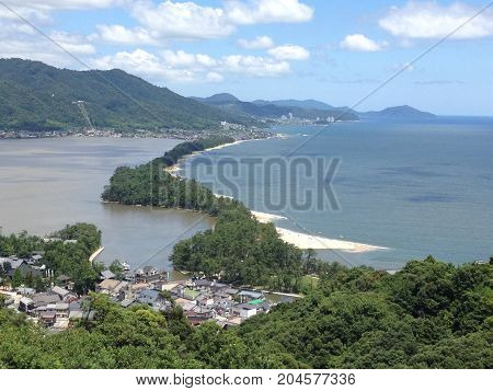 View of Amanohashidate sandbar in Kyoto prefecture,Japan