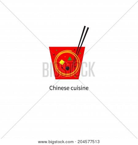 Delivery chinese food in red box with noodles, chopsticks and vegetables inside. Logo Chinese cafe. Vector illustration