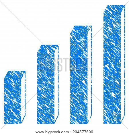 Grunge 3D Bar Chart icon with grunge design and dust texture. Unclean vector blue 3d bar chart pictogram for rubber seal stamp imitations and watermarks. Draft sticker symbol.