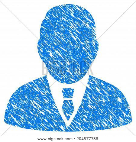 Grunge Boss icon with grunge design and unclean texture. Unclean vector blue boss pictogram for rubber seal stamp imitations and watermarks. Draft sticker symbol.