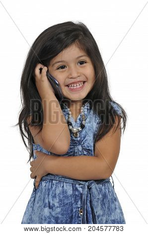 Beautiful little girl talking and texting on cell phones
