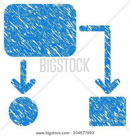 Grunge Flow Chart icon with grunge design and unclean texture. Unclean vector blue flow chart pictogram for rubber seal stamp imitations and watermarks. Draft sticker symbol.