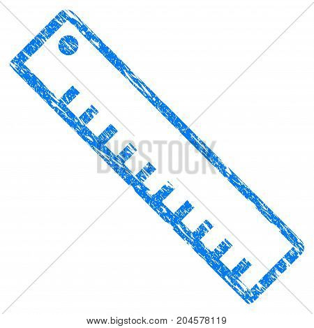 Grunge Length Ruler icon with grunge design and unclean texture. Unclean vector blue length ruler pictogram for rubber seal stamp imitations and watermarks. Draft emblem symbol.