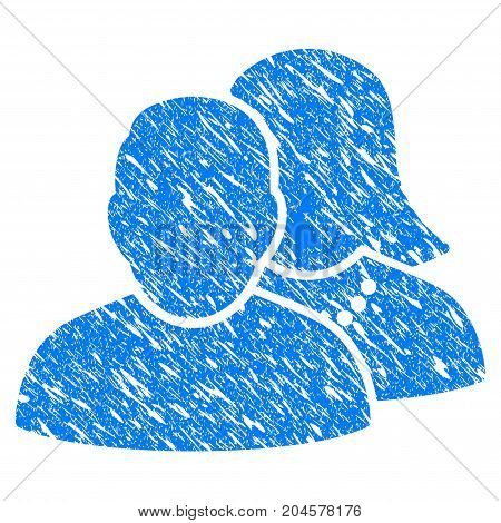 Grunge People icon with grunge design and dirty texture. Unclean vector blue people pictogram for rubber seal stamp imitations and watermarks. Draft emblem symbol.