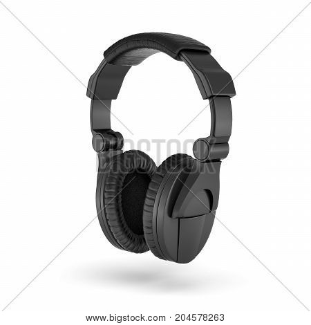 3d rendering of black padded headphones with a headband hanging on white background. Listen to music. DJ equipment. Melomania.