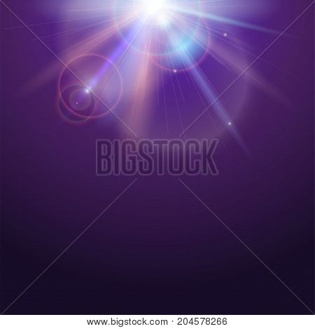 Poster template with glow light effect. Bright light of sun rays and lens flare backdrop with copy space. Star burst with sparkles. Abstract space background with beams on colored background.