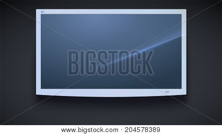Flat smart TV icon, LED TV hanging, isolated on the dark background. Widescreen monitor, light TV screen, template of graphic, 3D illustration