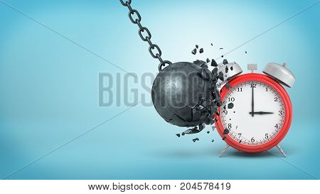 3d rendering of a big black iron wrecking ball breaks itself when hitting a large red alarm clock. No excuses. Avoid distractions. Routine against life events.