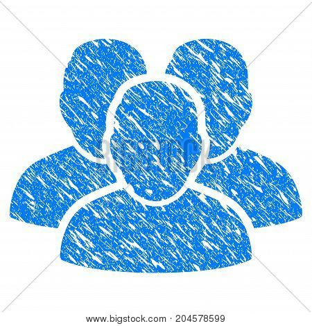 Grunge User Group icon with grunge design and dust texture. Unclean vector blue user group pictogram for rubber seal stamp imitations and watermarks. Draft sign symbol.