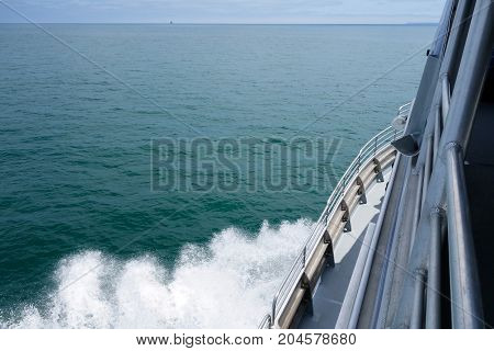Cruise ship heading toward distant Channel Islands west of Ventura coast Southern California