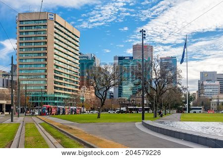 Adelaide Australia - June 28 2017: Victoria Square viewed from South to North with buildings and traffic at morning time
