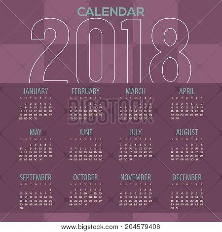 2018 Modern Purple Geometric Pattern Printable Calendar Starts Sunday Vector Illustration. EPS 10