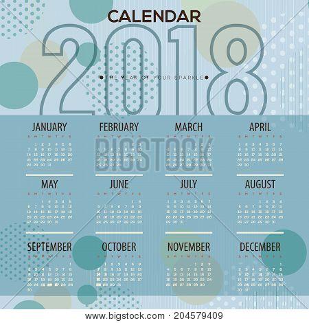 2018 Blue Dots Pattern Printable Calendar Starts Sunday Vector Illustration. EPS 10