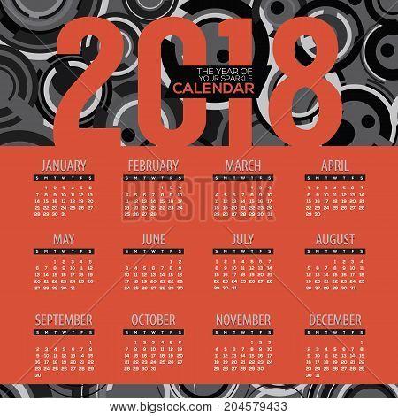 2018 Modern Red And Black Graphic Printable Calendar Starts Sunday Vector Illustration. EPS 10