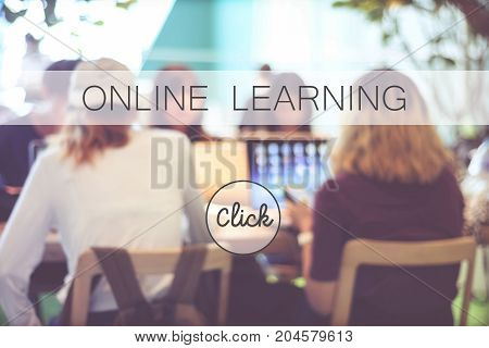 Online education banner over blur stdying people background web banner Education E learning technology concept
