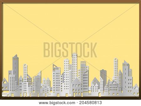 Cityscape of building and skyscraper in paper style on yellow billboard with copy space for image or textvector illustration.