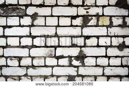 Texture of old brick wall. Rectangular background with brickwork.