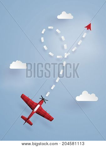 Concept of target red plane flying follow the arrow on the sky.The illustrations do the same paper art and craft style.