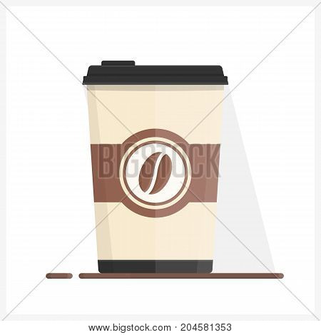 Paper coffee cup, coffee to go, flat style, vector eps10 illustration
