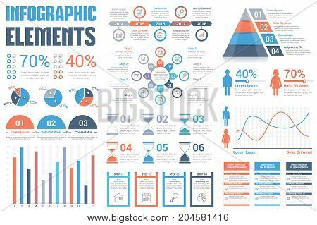 Infographic Elements - pie charts, timeline, percents, bar graph, line graph, people infographics, circle diagram, pyramid, steps, options, vector eps10 illustration