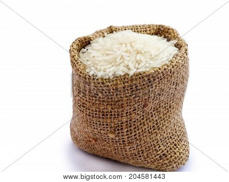 Thai jasmine rice in sack, white rice on burlap sack background with rice grain close up
