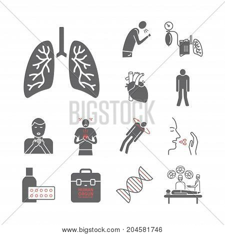 Pulmonary Hypertension icons. Vector signs for web graphics