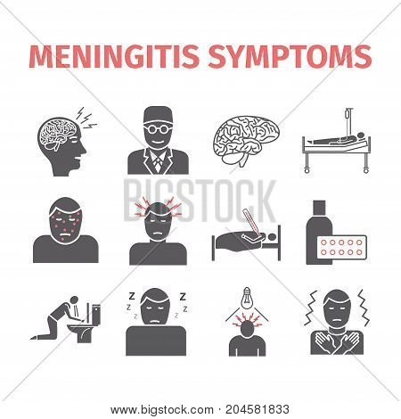 Meningitis web infographic. Meningitis symptoms icons. Vector illustration