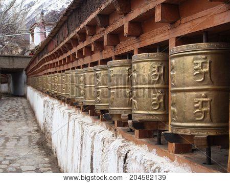 Holy Tibetan Buddhist Spinning For Prayer