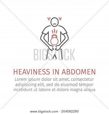 Heaviness in abdomen. Vector icon for web graphic.
