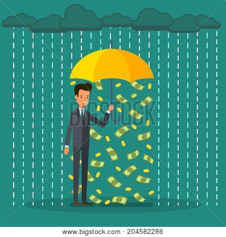 Concept of success. Protection and saving money. Businessman holding an umbrella and standing under money rain. Flat design, vector illustration.