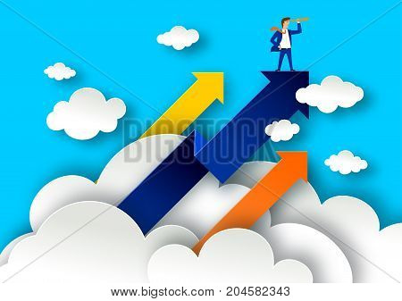 Leadership concept with arrows on white clouds. Businessman with spyglass on a top illustration in paper art style. Business leader poster.